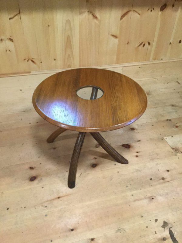 Circular oak table with glass insert