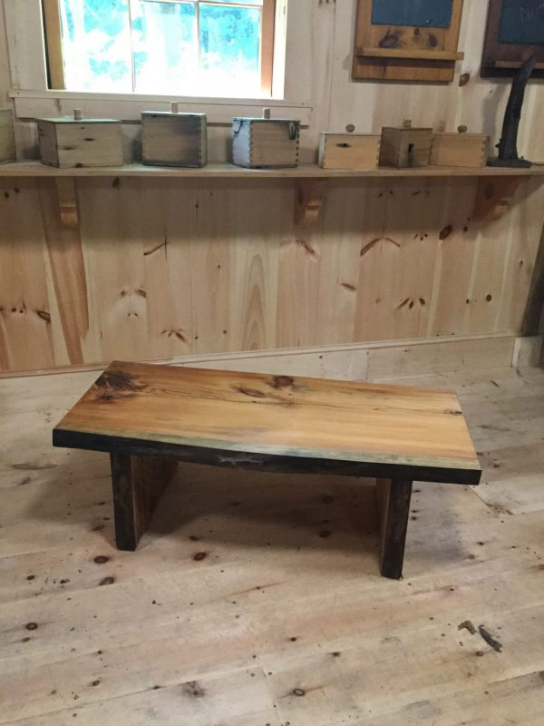 Modern look live edge thick Pine table